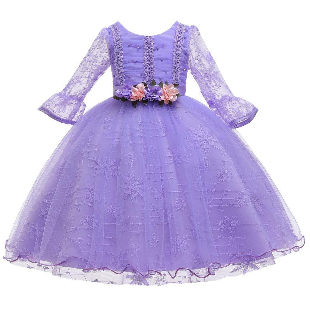 Children Girls Princess Dress Teens Vintage Tulle Dance Gown Lace Long Sleeves Elegant Party Evening Dresses (Age:5-6 Years, Purple) by FDSD Baby Clothes