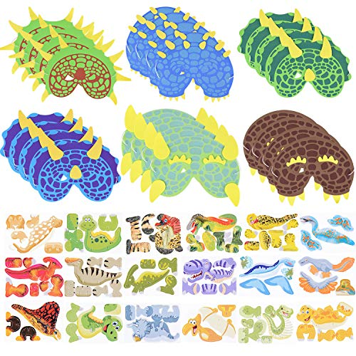Max Fun 24Pcs Dinosaur Foam Masks with 18 Set 3D Dinosaur Puzzles for Kids Dinosaur World Party Favors (Foam Dinosaur Masks) -