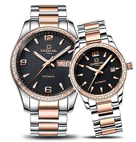 CARNIVAL Couple Watches Men and Women Automatic Mechanical Watch Chic Dress for Her or His Set of 2 (Rose Gold Black) by Carnival