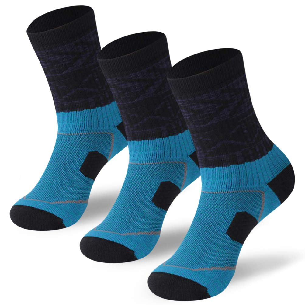 Forcool Camping Crew Socks,Youth Moisture Absorb Quick Wicking Comfortable Well Padded Ribbed Arch Support Multi Performance Outdoor Slight Compression Walking Hiking Socks Medium,3 Pairs Blue/Black by Forcool