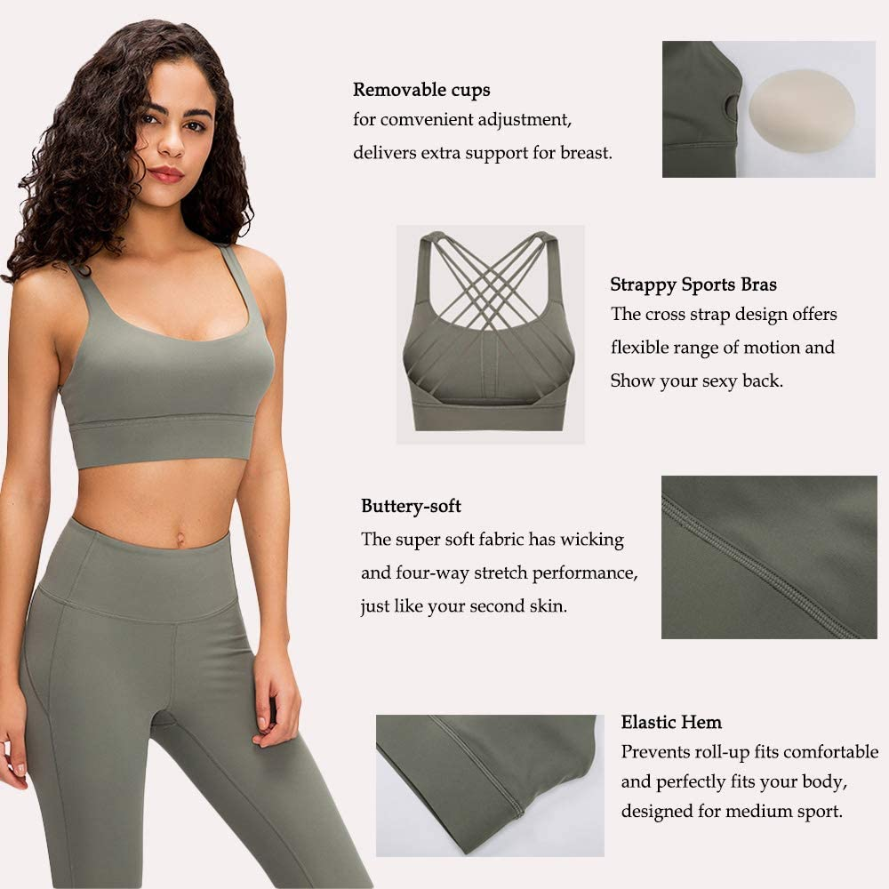 Strappy Sports Bras for Women Longline Padded Medium Support Workout Yoga Bra with Removable Cups: Clothing