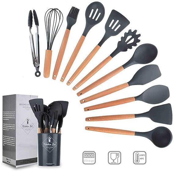 11 Piezas Utensilios Cocina de Silicona,Resistentes Al Calor Espátulas de Cocina Antiadherente con Mango de Madera, Cuchara sin BPA (gris): Amazon.es: Hogar