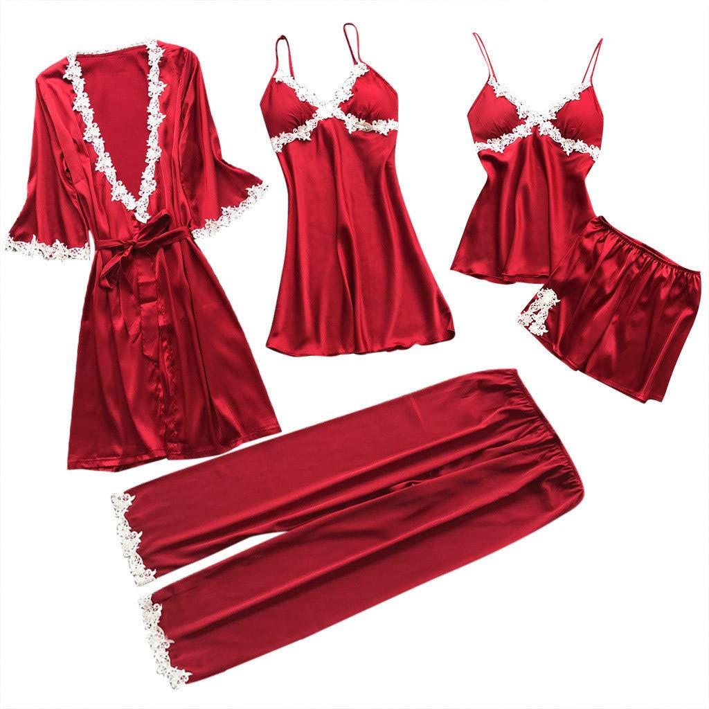 ZOMUSAR Fashion Women Sexy Lace Lingerie Nightwear Underwear Babydoll Sleepwear Dress 5PC Suit Red