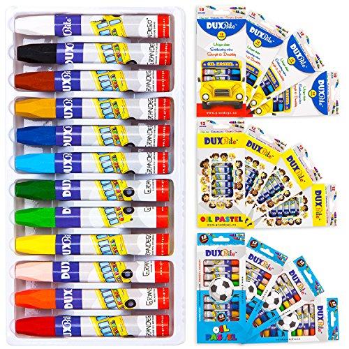 DUXBITE 12 Oil Pastel Art Set | Bulk Pack of 12 set, Children's Coloring Supplies with Tapered Points, Hexagonal Shape and Brilliant Colors – 12 Durable Artists Pastels by Duxbite