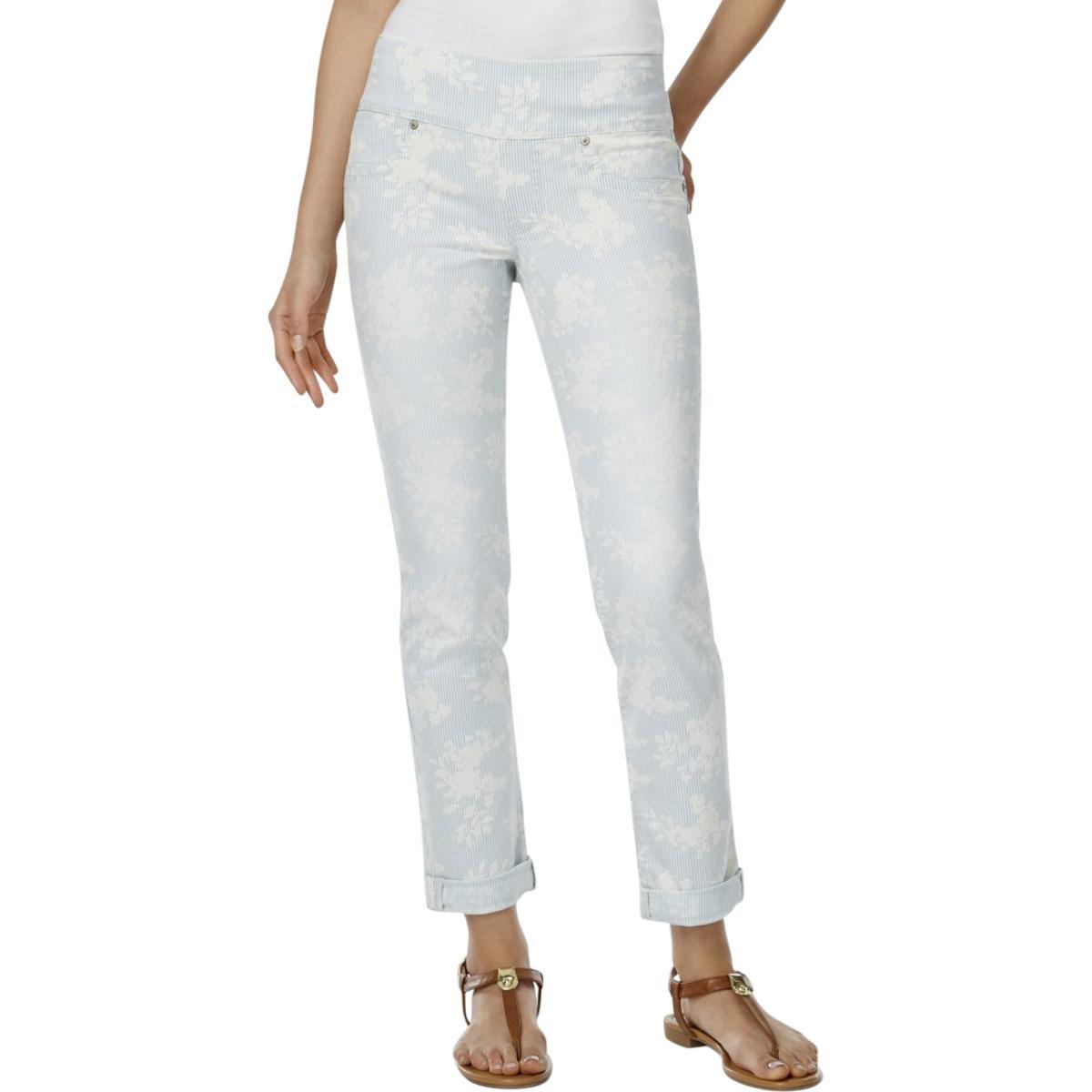 Style & Co. Womens Ella Floral Cuffed Boyfriend Jeans Blue L
