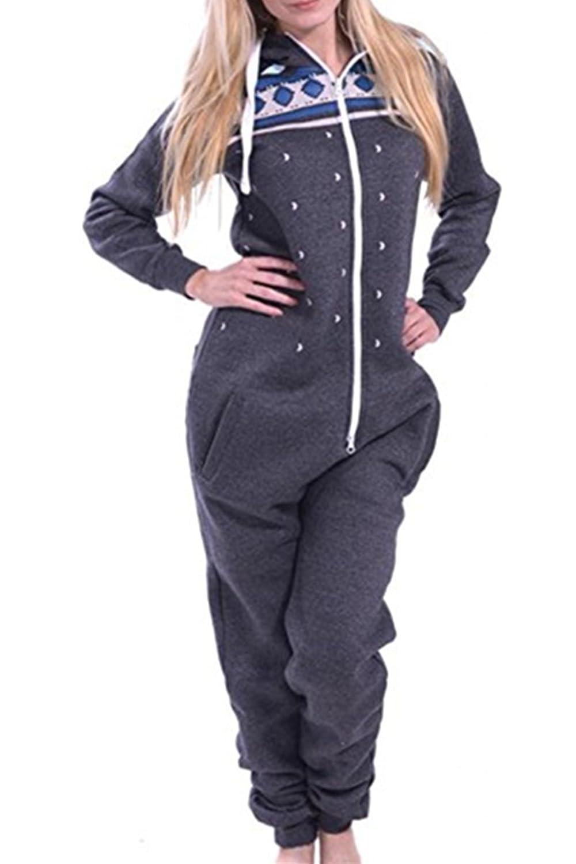 AiJump Combinaison Pyjama Capuche Adulte Femme Costume Pyjama Onesie Jogging pour Cosplay Noël Carnaval