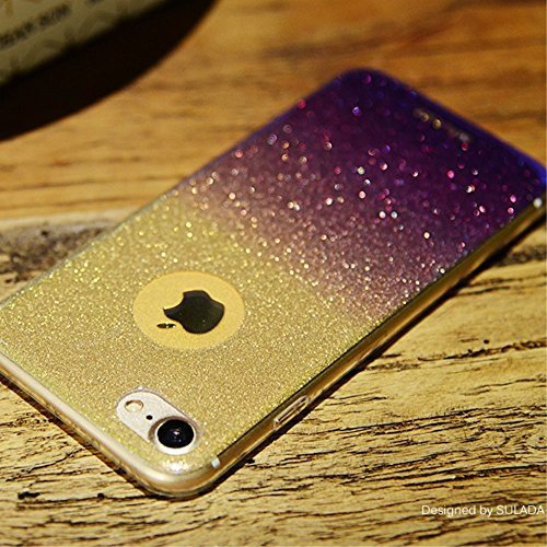 SULADA Bling Bling Flash Powder Gradient Color Mobile Tasche Hüllen Schutzhülle - Case für iPhone 7 Plus 5.5 inch (TPU) - Purple