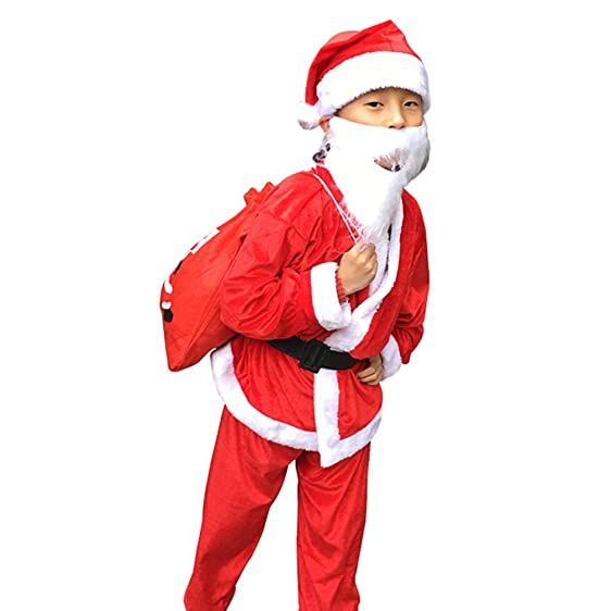 boys christmas santa costume party fancy dress cosplay costume santa suit claus costume with beard for