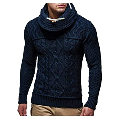 WINJUD Mens Sweater Cowl Neck Long Sleeve Top Autumn Winter Warm Casual Knit Pullover at Men's Clothing store