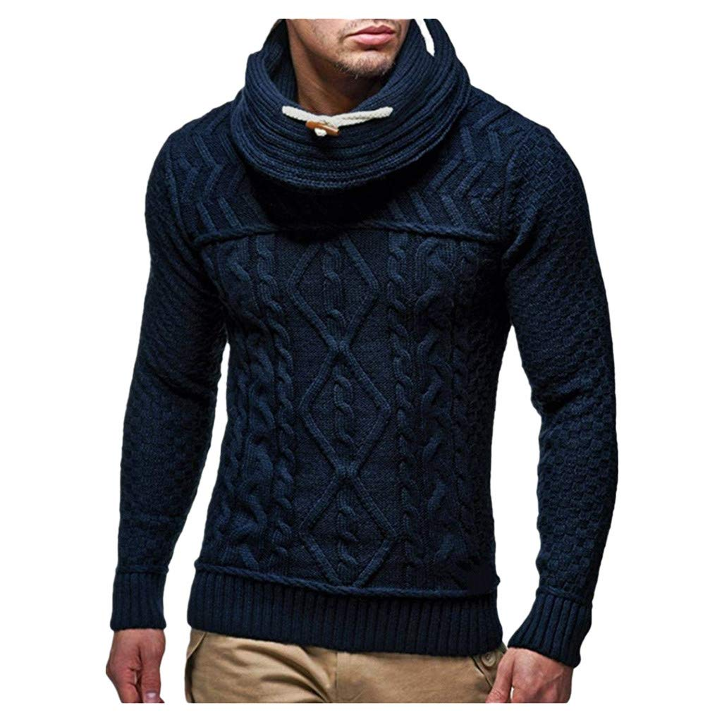 WINJUD Mens Sweater Cowl Neck Long Sleeve Top Autumn Winter Warm Casual Knit Pullover(Dark Blue,3XL) by WINJUD