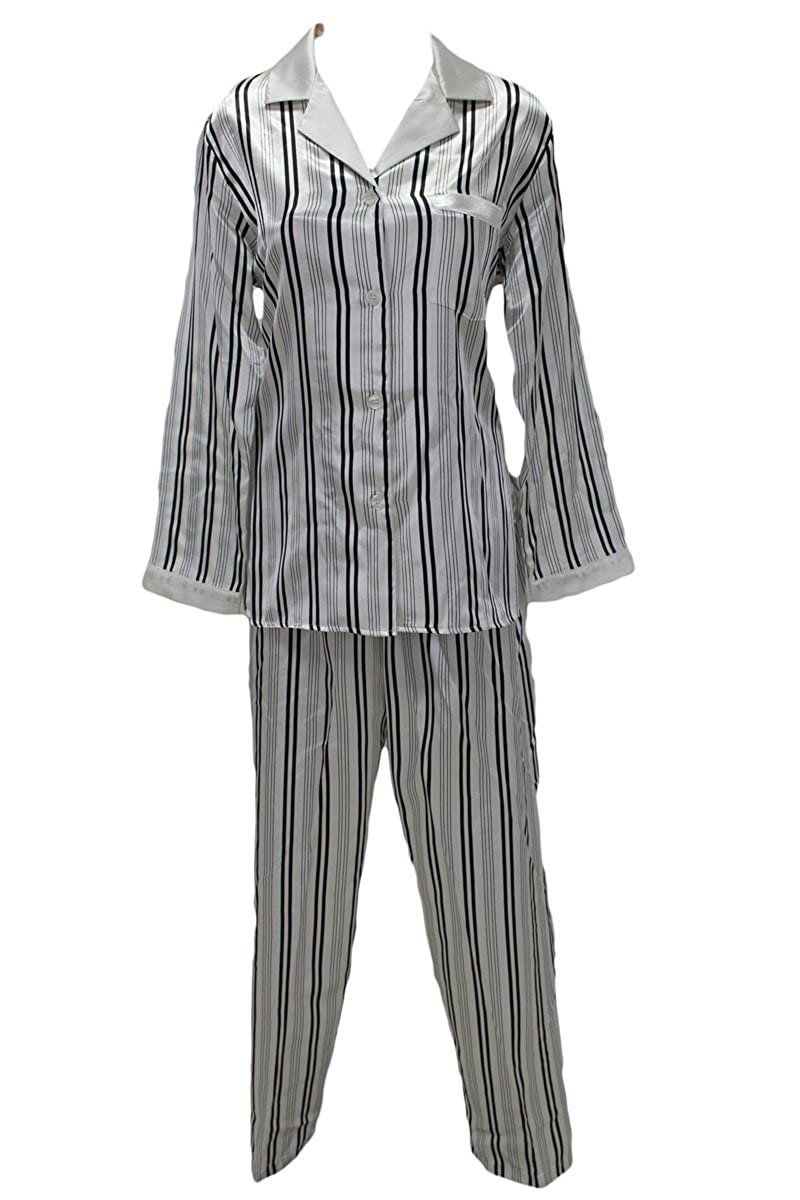New Miss Elaine Black White Stripe Satin Pajamas Set Small at Amazon Women s  Clothing store  9bb473db0