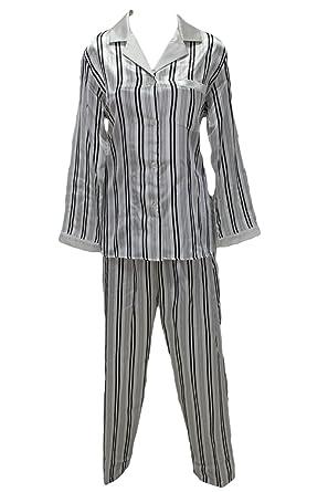 d8eda9a13a75d5 New Miss Elaine Black White Stripe Satin Pajamas Set Small at Amazon ...