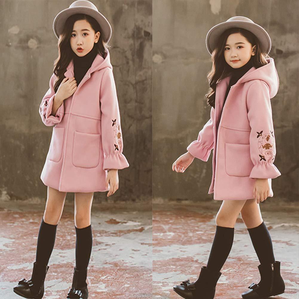 SXSHUN Bambina Cappotto Ricamato di Lana Ragazza Giacca da Principessa con Cappuccio per Autunno e Inverno