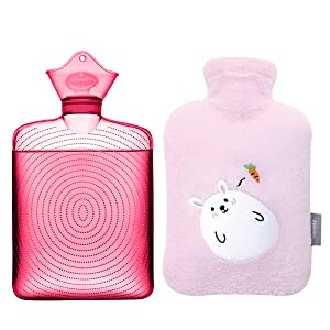 Samply Transparent Hot Water Bottle- 2 Liter Water Bag with Cute Fleece Cover, Rabbit Pink