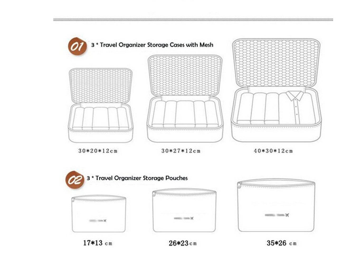 6pcs bolsas de viaje impermeable Organizador de equipaje de viaje ...