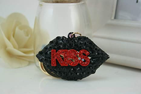 Amazon.com: Kiss Hot Lips hermoso llavero de diamantes de ...