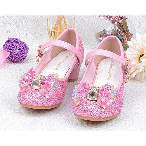 Cool&D Mädchen Sandalen Frozen Schuhe Prinzessin Sandalen Absatz-Schuhe Oxford Sohlen Sandalette mit Glitzerpailletten Rosa