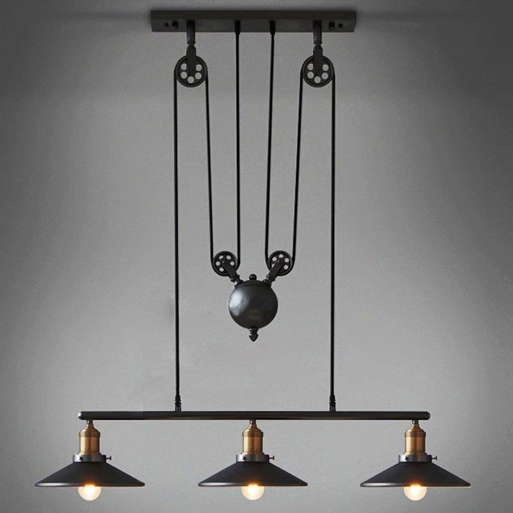 Dst retro black pendant light industrial chandelier vintage adjustable hanging ceiling light pendant light for island dining bar matte black
