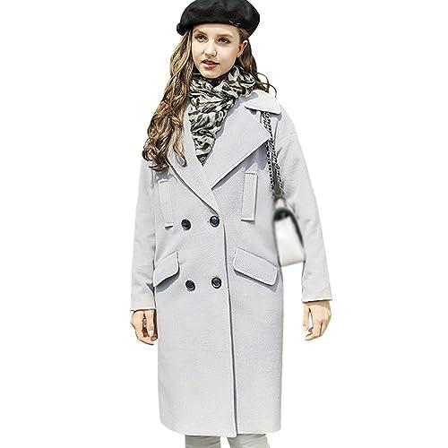 YAANCUN Mujer Diseño De Botón De Doble Fila Manga Larga Flojo En La Sección Larga Gran Tamaño Abrigo...