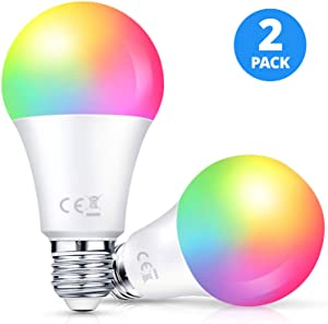 Smart LED Light Bulb 2 Pack LARKKEY WiFi Multicolor Light Bulb Compatible with Alexa and Google Assistant, E26 RGBW Color Changing Bulb, Energy Saving and FCC Certified (Round-10w)