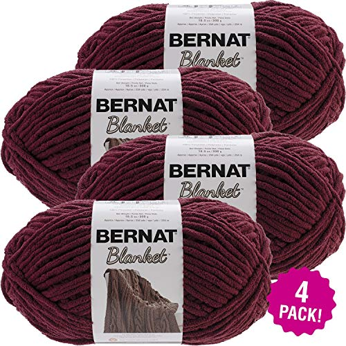 Bernat 99660 Blanket Big Ball Yarn-Purple Plum, Multipack of 4, Pack ()