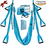 Yoga Swing/Aerial Trapeze Kit with 2 Durable Extension Straps+eBook/Large Inversion Hammock for Indoor and Outdoor Usage with Great Health Benefits/Holds Up to 600 Pounds/Strong Wide Air Fly Sling Set