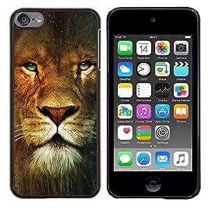 LECELL--Funda protectora / Cubierta / Piel For Apple iPod Touch 6 6th Touch6 -- Retrato del león Ojos verdes salvaje del gato grande de África --