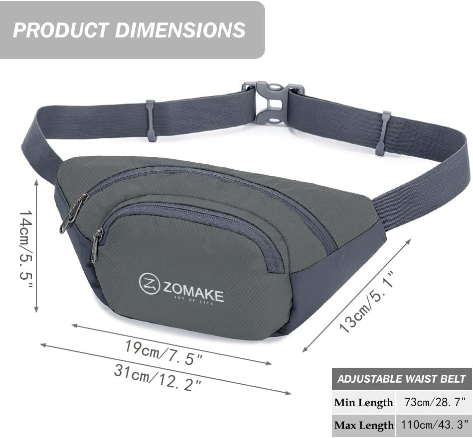 Water Resistant Waist Bag Outdoors Workout Travel Casual Hiking Cycling with Large Compartment ZOMAKE Fanny Pack for Men Women