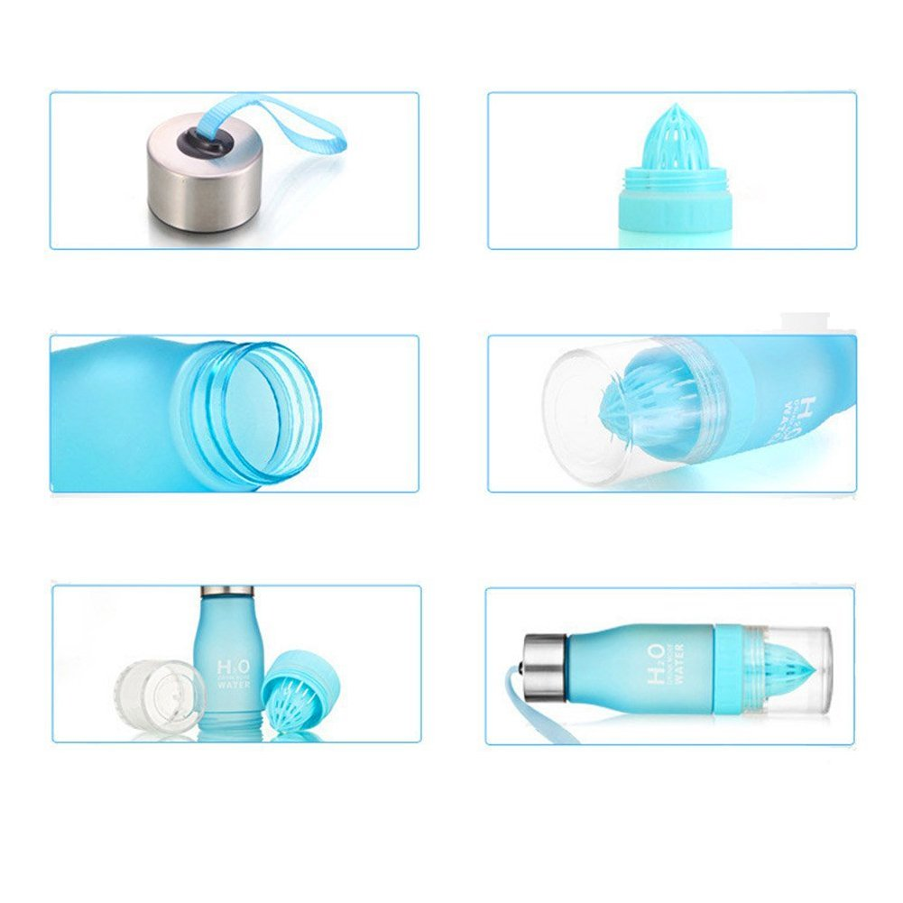Water Bottle Cups Fruit Lemon 650ml H2O Infusing Health Juice Infuser Squeezer Cup Outdoor Sport Water Bottle - Save Your Money and Hydrate the Healthy Way - Multiple Colors - Blue