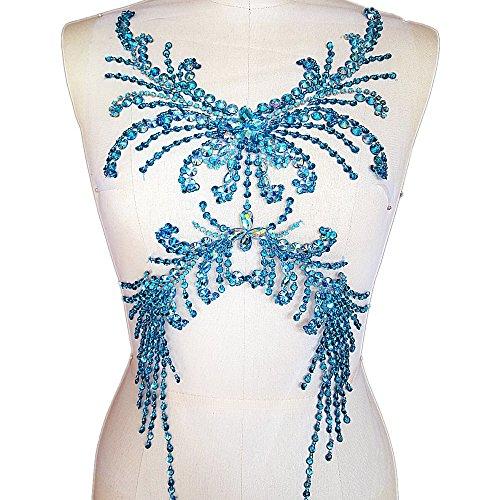 Pure Handmade Sumptuous Exquisite Rhinestones sequins beads Sew on For Dress Delicate Glitter Wedding Applique Trim DIY Accessorie,Chest decoration 28x52cm (light (Black Sequin Rhinestone)