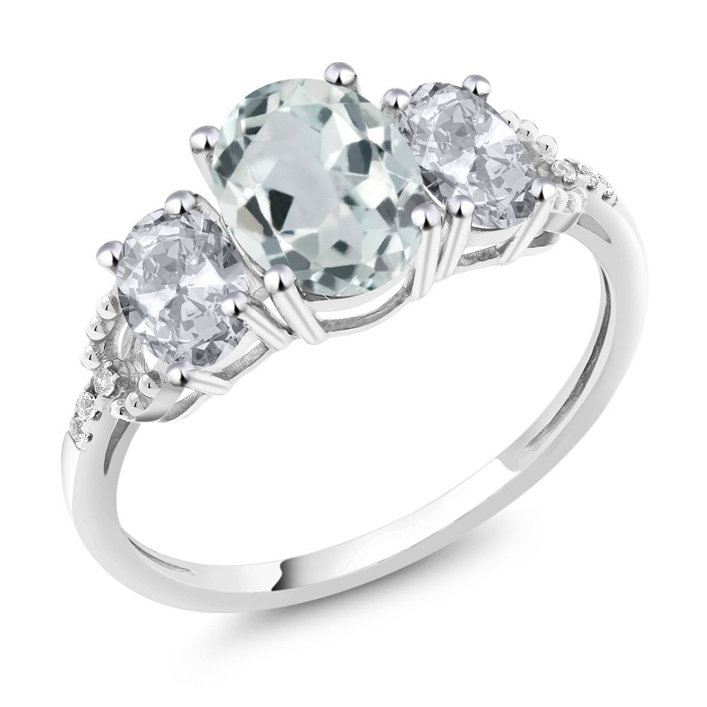10K White Gold Diamond Accent Three-Stone Engagement Ring set with 2.15 Ct Oval Sky Blue Aquamarine White Topaz (Ring Size 8)