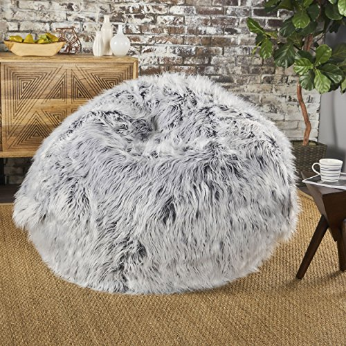 GDFStudio 301706 Lycus Faux Fur Bean Bag Chair Silver Grey ,
