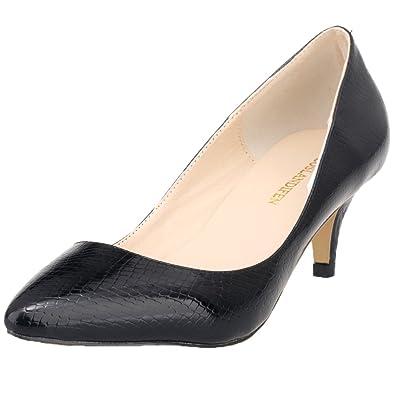 ba960ee93448 LOSLANDIFEN Women s Pointed Toe Low Mid Heels Crocodile Pumps Court Dress  Shoes(678-1XEY35