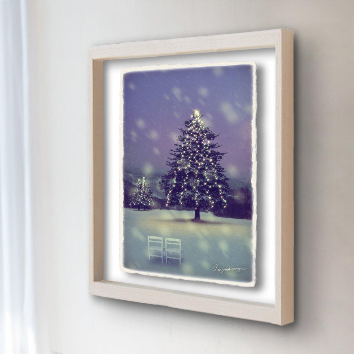 和紙 アートフレーム 「雪原のイルミネーションのモミの木と白い椅子」 (52x42cm) 絵 絵画 壁掛け 壁飾り 額縁 インテリア アート B077Q783KH 24.アートフレーム(長辺52cm) 55000円|雪原のイルミネーションのモミの木と白い椅子 雪原のイルミネーションのモミの木と白い椅子 24.アートフレーム(長辺52cm) 55000円