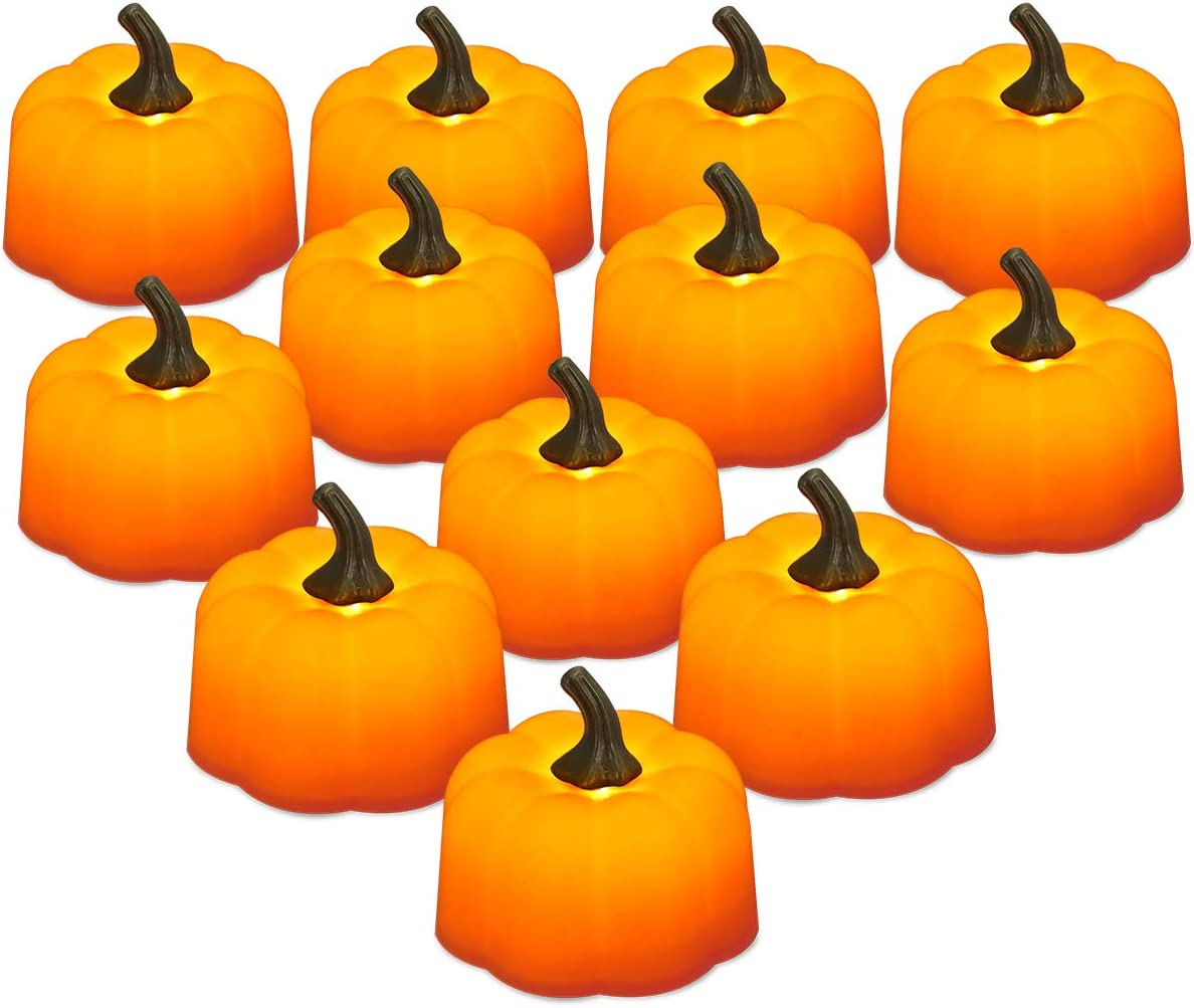 LOHAS 12Pcs LED Orange Pumpkin Tea Lights, Halloween 3D Pumpkin Lights, Button Batteries Operated, Flameless Candle Light, Indoor Outdoor Decoration for Halloween Christmas, Table, Parties Tea Ligh