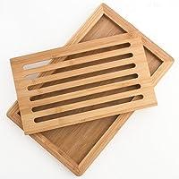 Bakaji Tagliere Vassoio per Pane in Legno di Bambu con Vaschetta Contenitore Raccogli Briciole Dimensione 38 x 24 cm Colore Bamboo Naturale