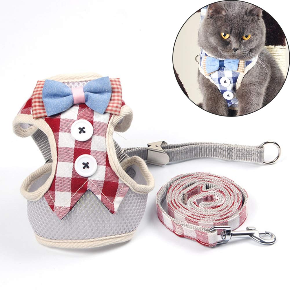 Red Outdoor pet cat and Dog Breathable Vest Traction Rope Korean Plaid Dress Dress Dog cat Universal Adjustable,Red