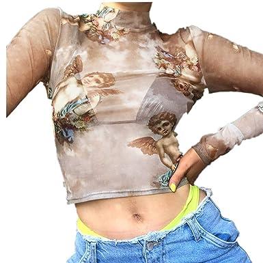Overdose Camiseta de Las Mujeres ángel Impreso Delgado Flaco Casual Ajustado Transparente Mini Tops Blusa de Cuello Alto Nuevo 2019 Primavera: Amazon.es: ...