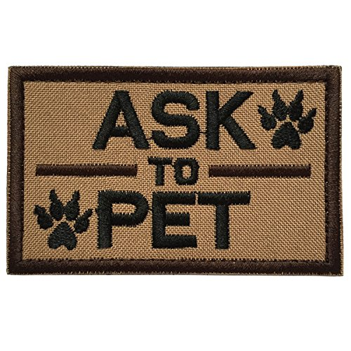 SpaceAuto Ask to Pet Harness Tactical Morale Hook & Loop Embroidery Badge Patch 3.15