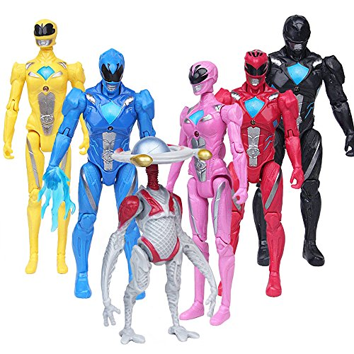 L'OGA Power Rangers Super Heroes Toys 5-inch Toys PVC Action Figures 6pcs/set Child Toys Gifts Decoration -
