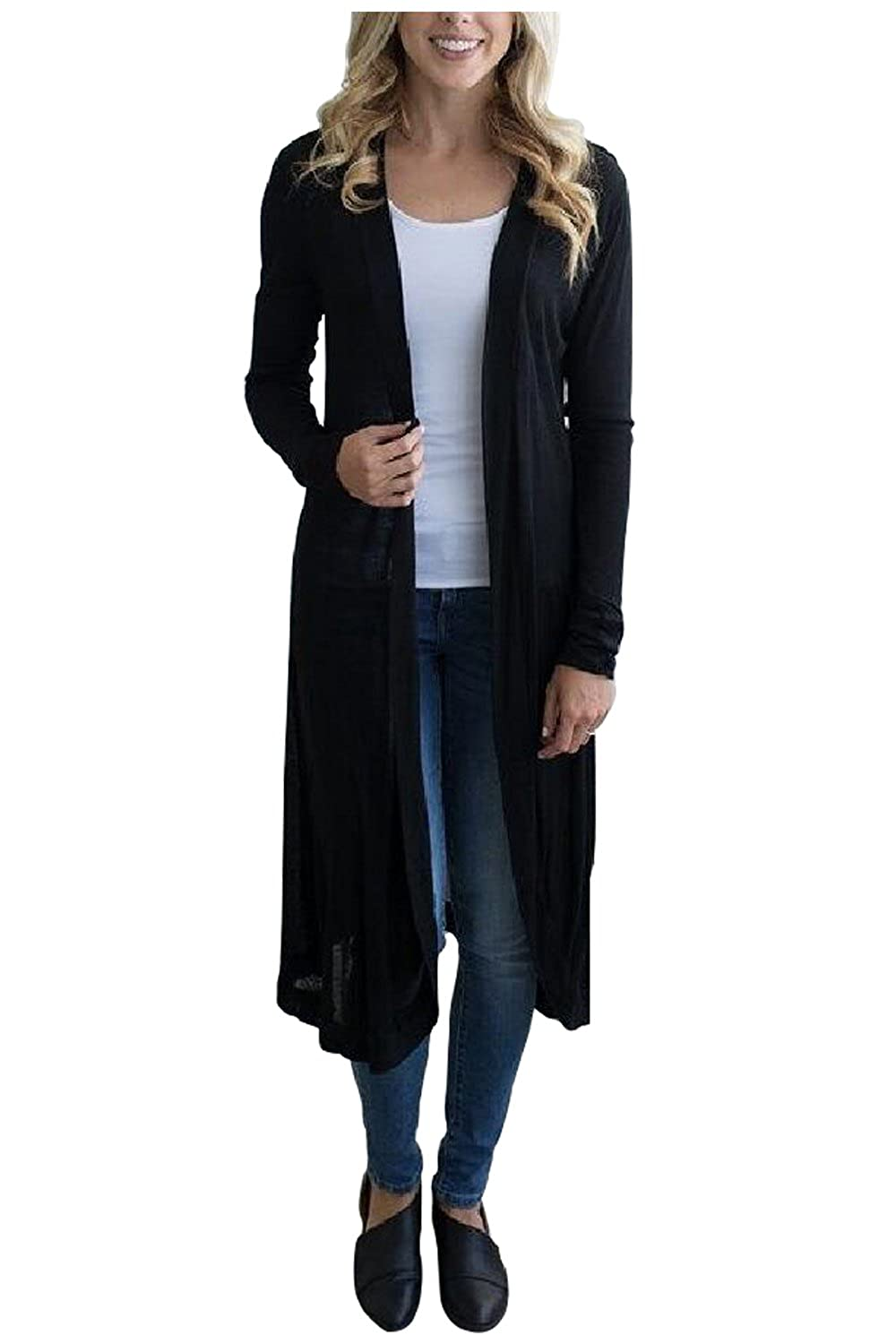 1fd2c645e7 Top6  Kumer Womens Long Sleeve Open Front Cardigan Solid Color Long Cover  up Outwear Coat