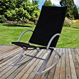 Marko Outdoor Rocker Relaxer Sun Lounger Garden Patio Sunbed Tanning Chair Seat (Black)