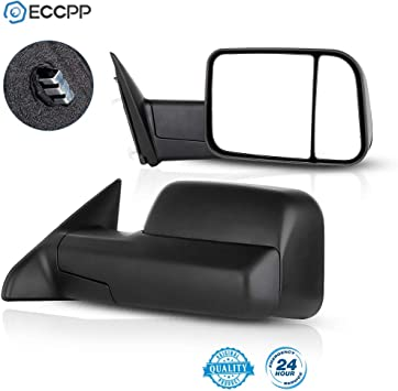 Towing Mirror by ECCPP Side Mirror Replacement for 2009-2018 Dodge Ram with Flip-Up Mirror Pair 050728-5211-1542544805 Textured Black