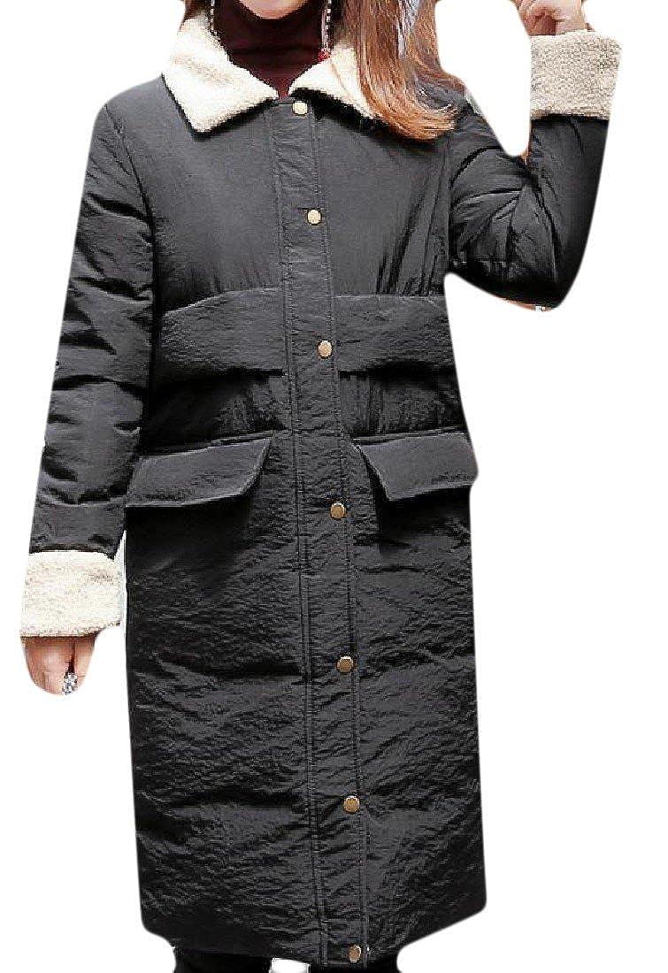 QueenHandsWomen QueenHands Womens Single Breasted Pockets Golilla Stitching Anorak Jacket