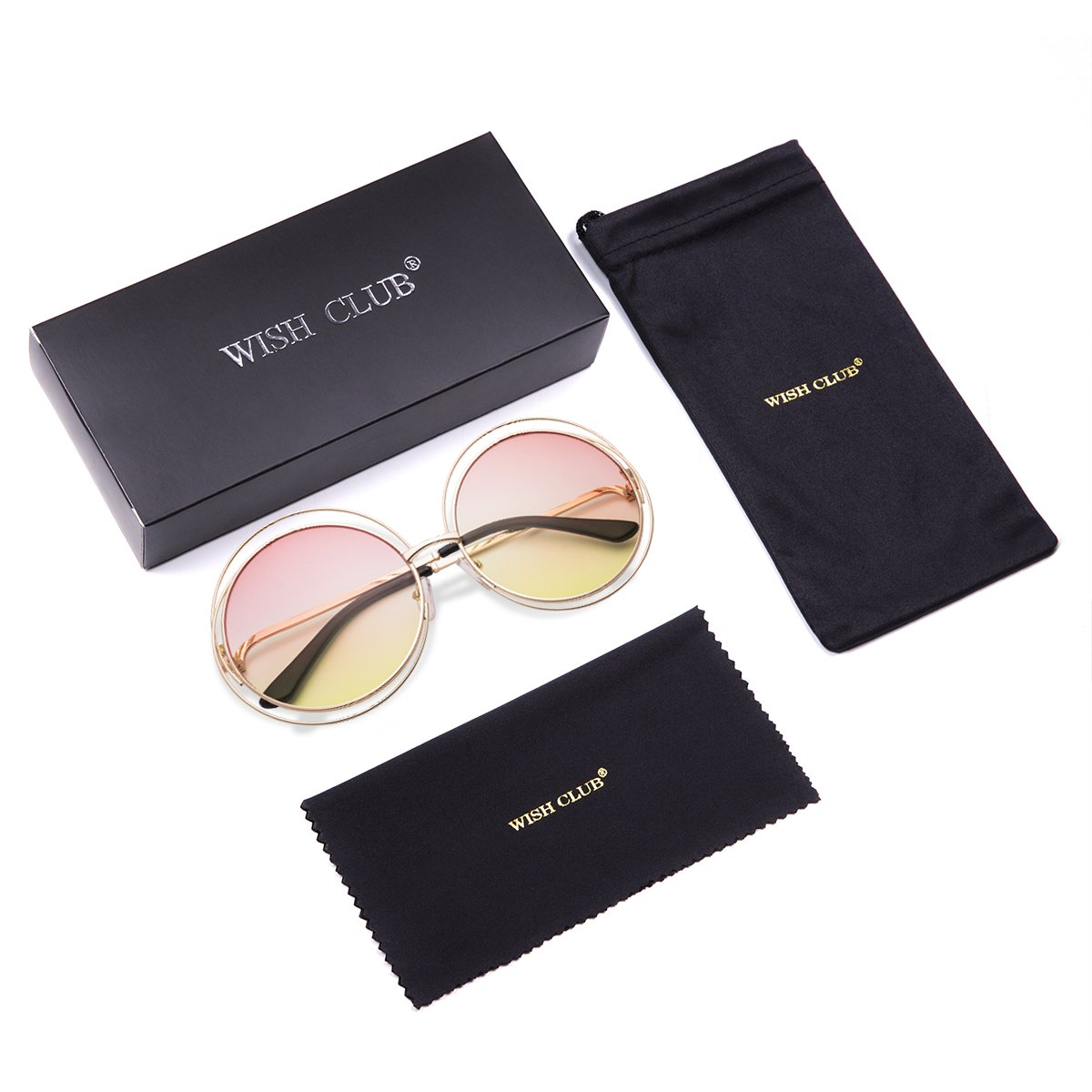 WISH CLUB Oversized Round Fashion Sunglasses for Women Flat Lens Rimmed Eyewear for Girls Womens UV Transparent Glasses (Pink - Yellow) 3018