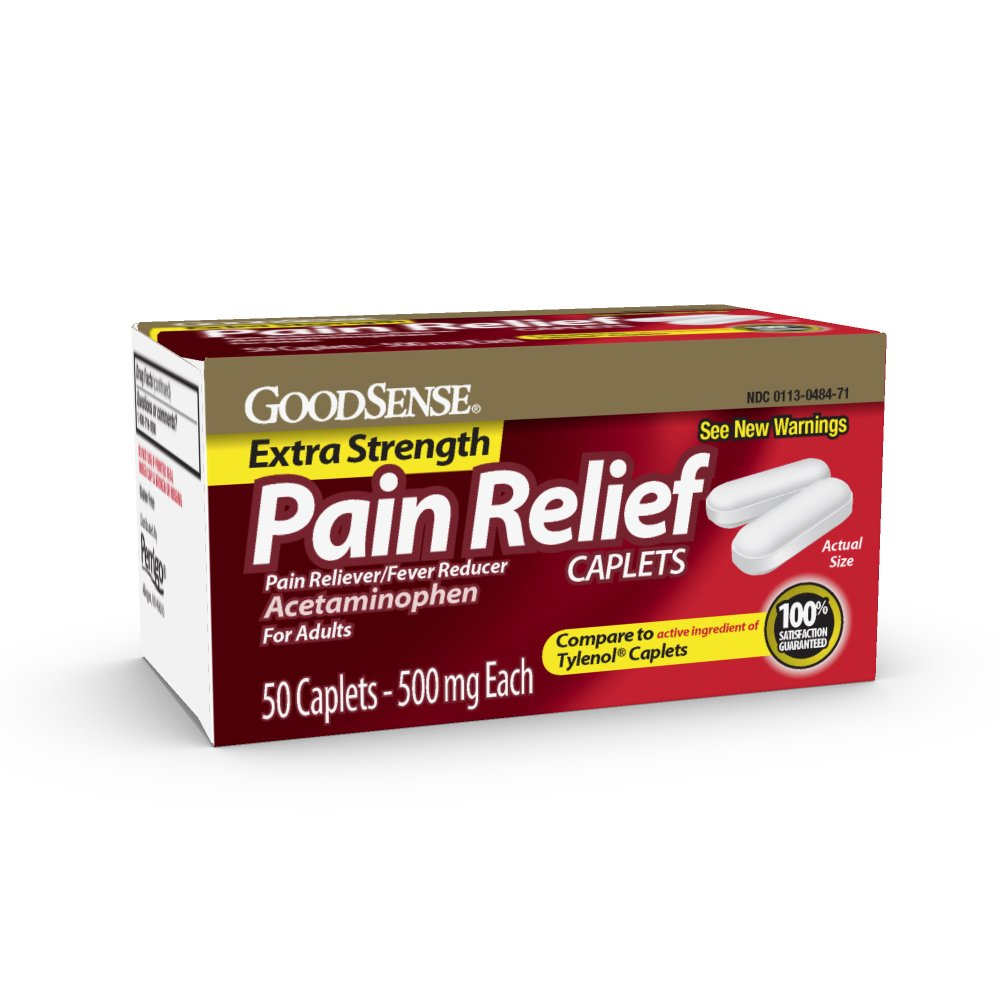 GoodSense Extra Strength Pain Relief, 500 mg Acetaminophen Caplets, 50 Count
