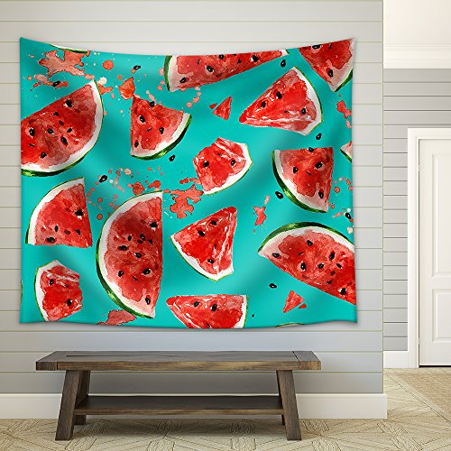 Juicy Watermelon Watercolor Seamless Pattern Fabric Wall