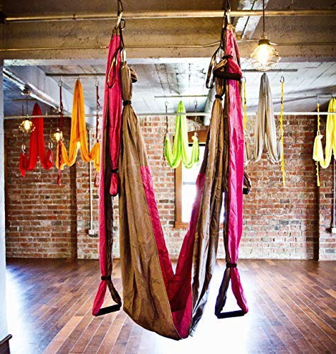 Aerial Yoga Swing - Gym Strength Antigravity Yoga Hammock - Inversion Trapeze Sling Exercise Equipment with Two Extender Hanging Straps - Blue Pink Grey Swings & Beginner Instructions.  by Yogatail (Image #7)