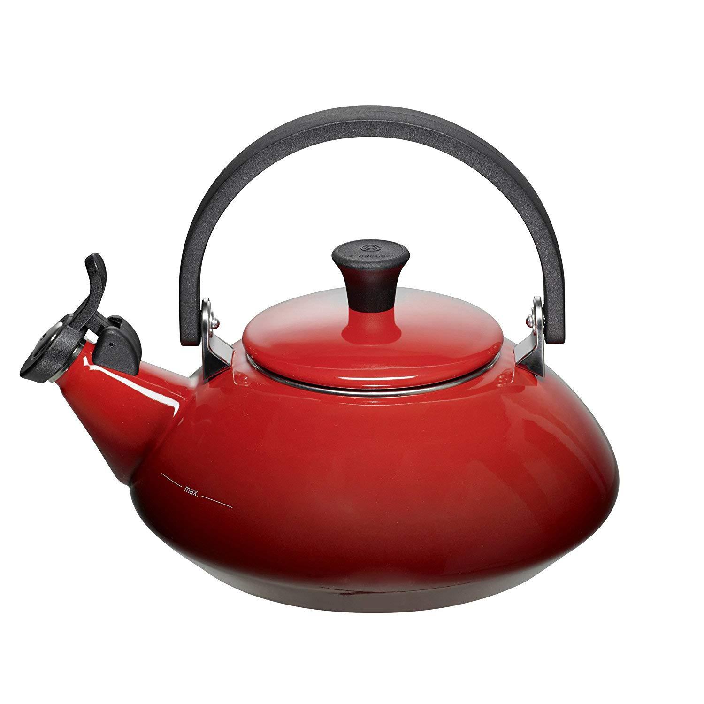 Le Creuset Enamel-on-Steel Zen 1-2 3-Quart Teakettle, Cerise Cherry Red