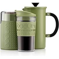 BODUM Koffiezetapparaat, 1 liter, roestvrij staal, 8 kopjes, dubbelwandige reisbeker en elektrische koffiemolen.